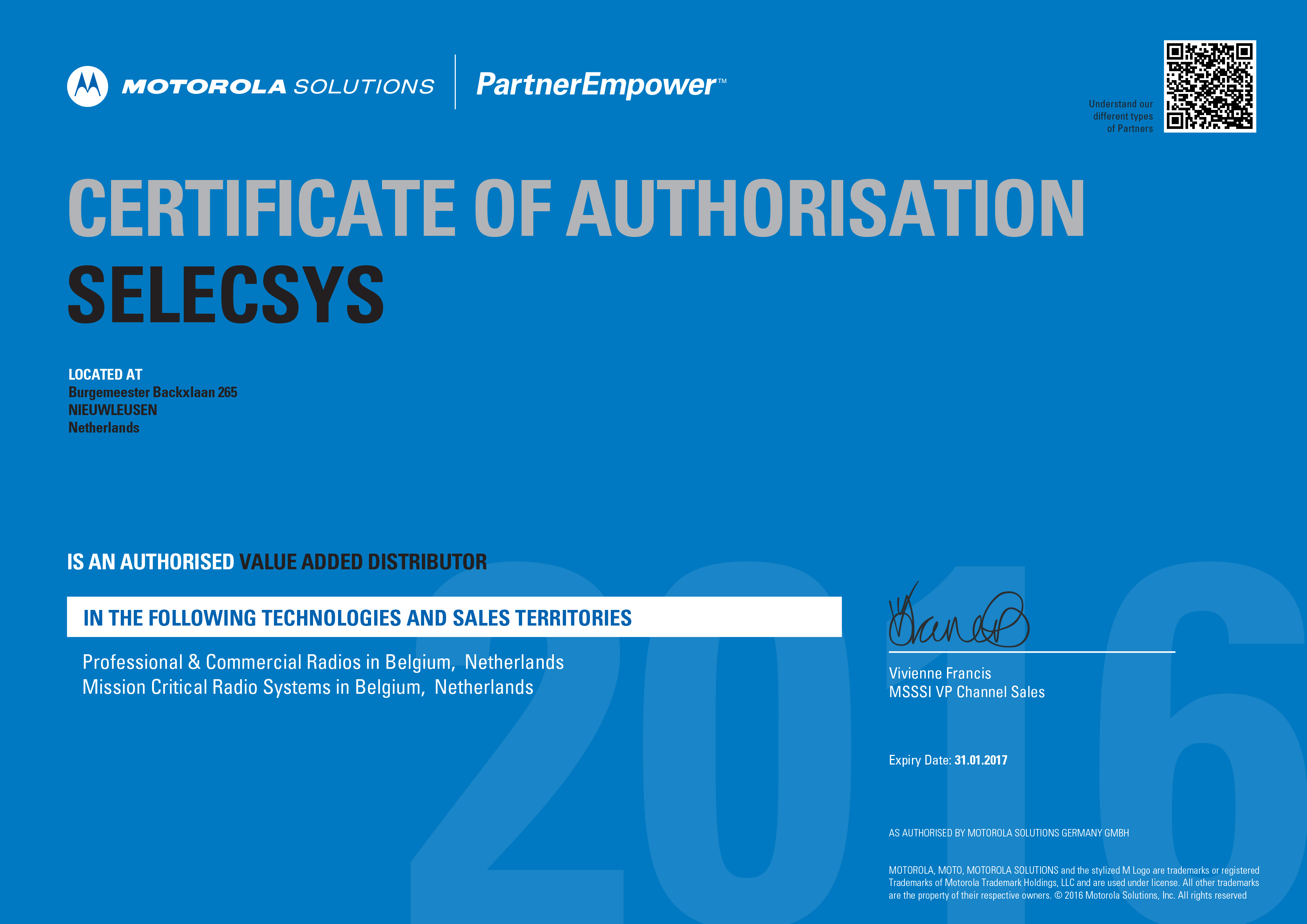 Certificate of autorisation selecsys